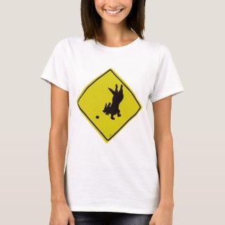 Dog Chasing Ball Street Sign T-Shirt