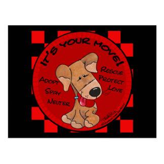 Dog Checker Board Postcard