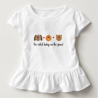 'Dog Chick Cat' Baby Girl Ruffle Shirt