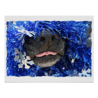 Dog Christmas Opinion Barely Tongue Simple Frame Poster