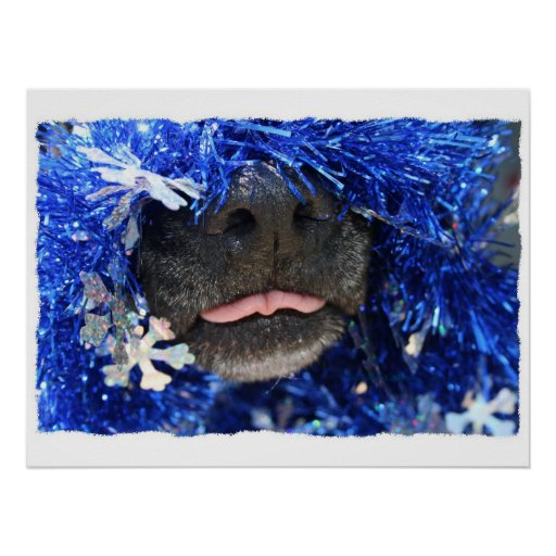Dog Christmas Opinion Barely Tongue Simple Frame Poster