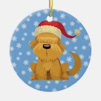 dog christmas vintage ceramic ornament
