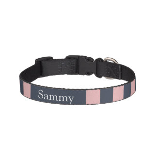 Dog collar blue-pink strip