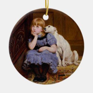 "Dog Comforting Girl - ""Sympathy"" by Riviere Briton Ceramic Ornament"