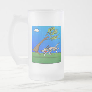 Dog Comic Frosted Glass Beer Mug