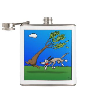 Dog Comic Hip Flask