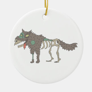Dog Creepy Zombie With Rotting Flesh Outlined Hand Ceramic Ornament