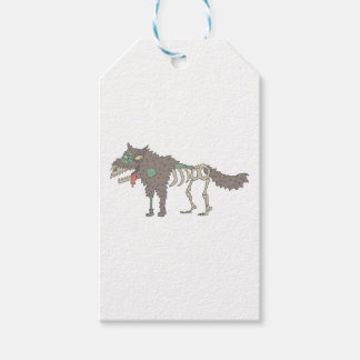 Dog Creepy Zombie With Rotting Flesh Outlined Hand Gift Tags