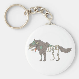 Dog Creepy Zombie With Rotting Flesh Outlined Hand Keychain