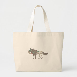 Dog Creepy Zombie With Rotting Flesh Outlined Hand Large Tote Bag
