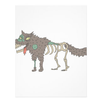 Dog Creepy Zombie With Rotting Flesh Outlined Hand Letterhead