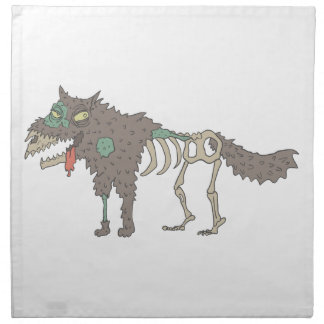 Dog Creepy Zombie With Rotting Flesh Outlined Hand Napkin