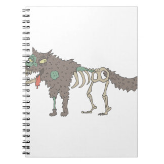 Dog Creepy Zombie With Rotting Flesh Outlined Hand Notebook