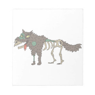 Dog Creepy Zombie With Rotting Flesh Outlined Hand Notepad