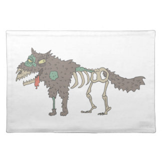 Dog Creepy Zombie With Rotting Flesh Outlined Hand Placemat