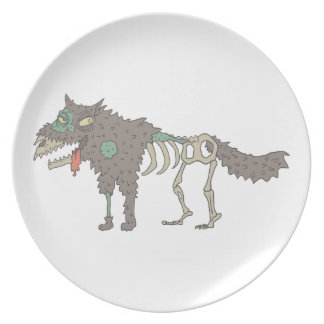 Dog Creepy Zombie With Rotting Flesh Outlined Hand Plate