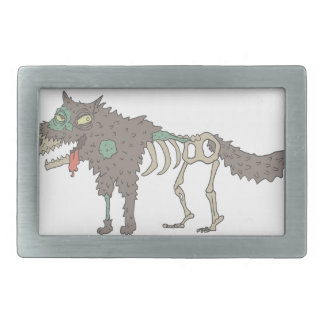 Dog Creepy Zombie With Rotting Flesh Outlined Hand Rectangular Belt Buckle