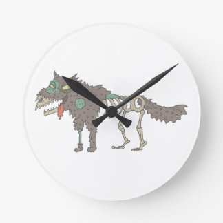 Dog Creepy Zombie With Rotting Flesh Outlined Hand Round Clock