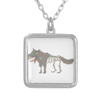 Dog Creepy Zombie With Rotting Flesh Outlined Hand Silver Plated Necklace
