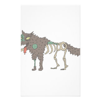 Dog Creepy Zombie With Rotting Flesh Outlined Hand Stationery
