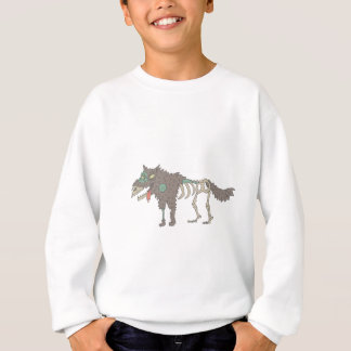 Dog Creepy Zombie With Rotting Flesh Outlined Hand Sweatshirt