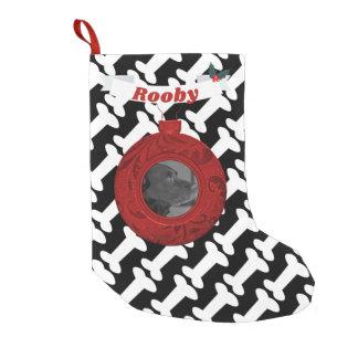 Dog Custom Photo Name Bones Pattern Red B&W Pet Small Christmas Stocking