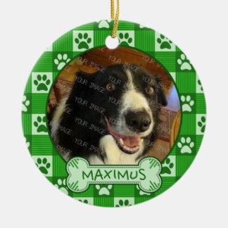 Dog Custom Photo Name Green Paw Print Gingham Bone Ceramic Ornament