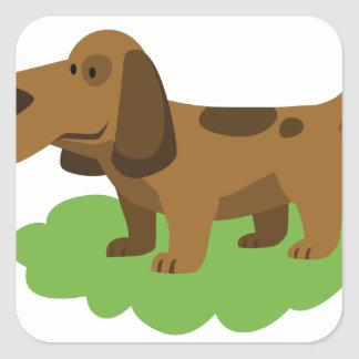 dog cute cartoon design square sticker