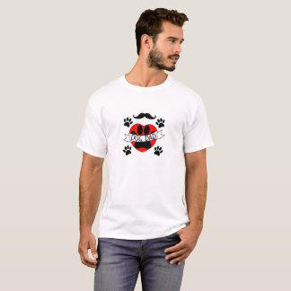 Dog Dad Paw And Red Heart Drawing T-Shirt