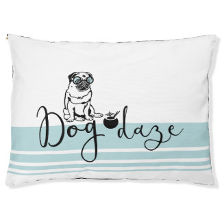 """Dog Daze"" Humorous Pug in Sunglasses Dog Bed Large Dog Bed"