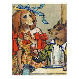 Dog Dinner Dress Up Vintage Postcard