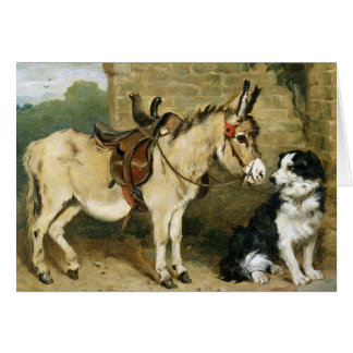 Dog & Donkey Animal Friends - Vintage Art by Emms Card