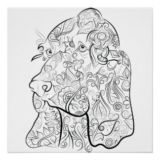 Dog drawing adult colouring poster