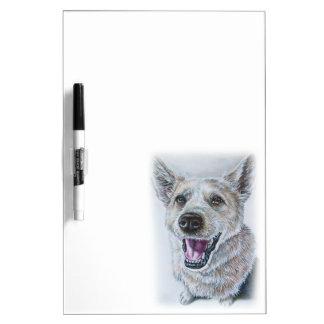 Dog Drawing Design of Sitting Happy Dog Dry Erase Boards