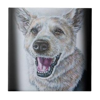 Dog Drawing Design of Sitting Happy Dog Tiles