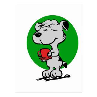Dog drinking coffee postcard