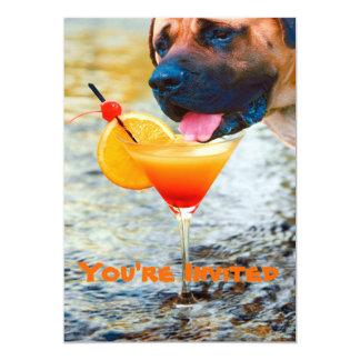 "Dog Drinking Martini On The Beach 5"" X 7"" Invitation Card"