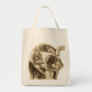 Dog Drinking on Grocery Tote