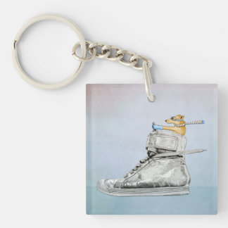 Dog Driving Shoe Square Acrylic Keychain
