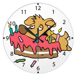 Dog eating birthday cake large clock