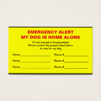 Dog Emergency Alert Home Alone Card
