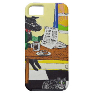Dog Enjoying Coffee and Donuts Case For The iPhone 5