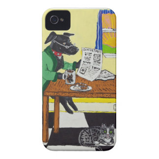 Dog Enjoying Coffee and Donuts iPhone 4 Case
