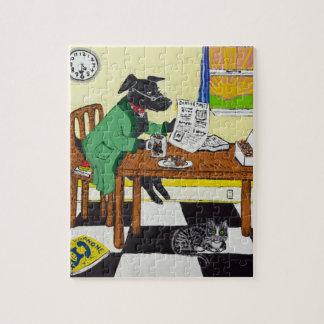 Dog Enjoying Coffee and Donuts Jigsaw Puzzle