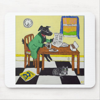 Dog Enjoying Coffee and Donuts Mouse Pad