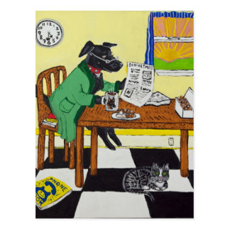 Dog Enjoying Coffee and Donuts Postcard