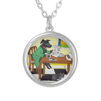Dog Enjoying Coffee and Donuts Silver Plated Necklace