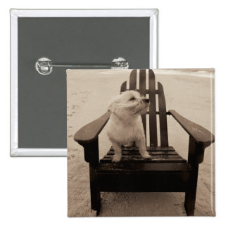 Dog Enjoying the Beach 2 Inch Square Button
