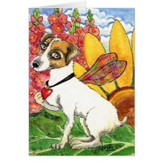 Dog Fairy Flower Garden Fantasy Card by Ann Howard