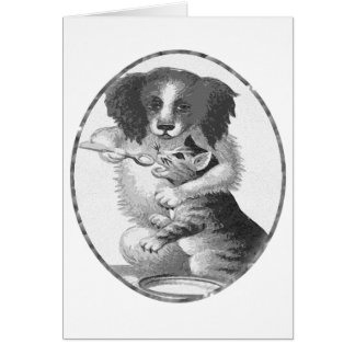 Dog feeding a cat card